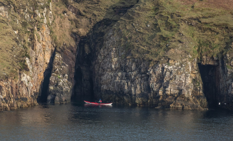 Kayak on the west Irish coast, photograph by David Gange