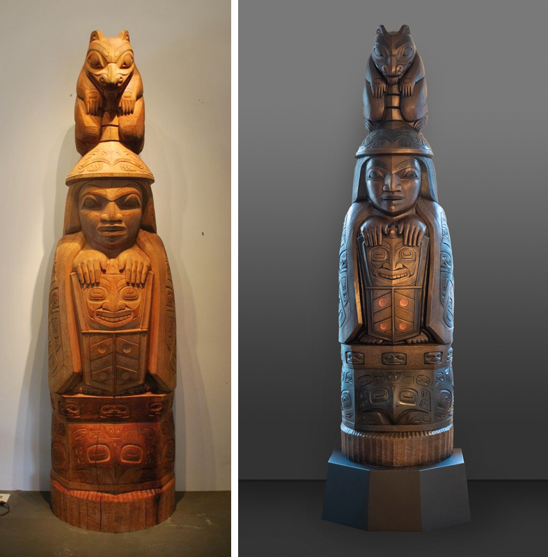 Family Story Totem by Preston Singletary