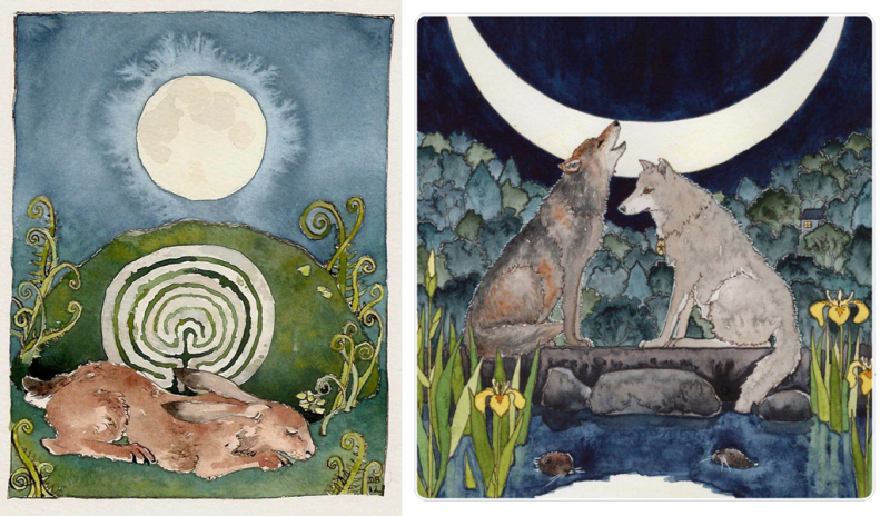 Wolves and a Beltane hare by Danielle Barlow