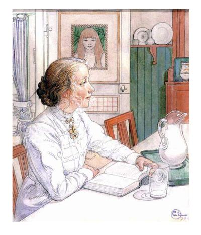 ''Reading at the Breakfast Table'' by Carl Larsson