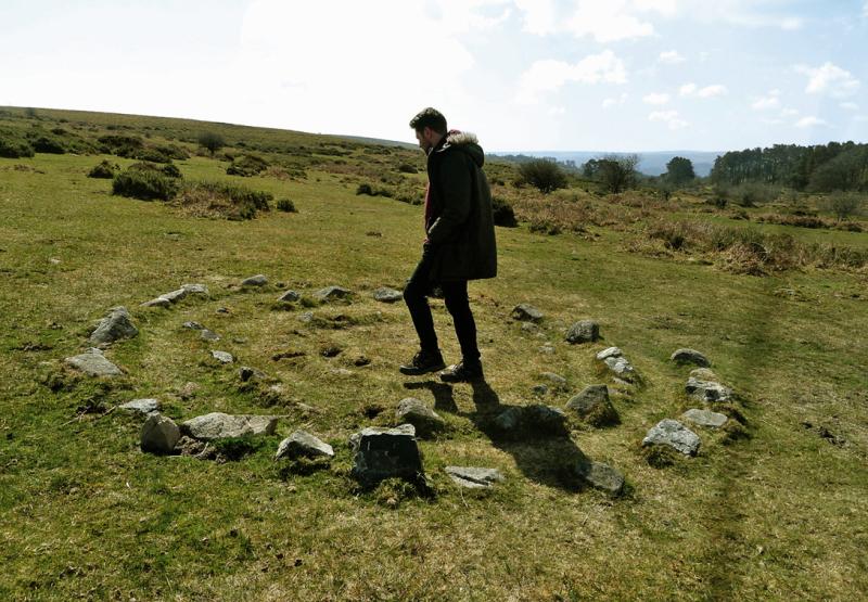 Howard walking a labyrinth on Dartmoor