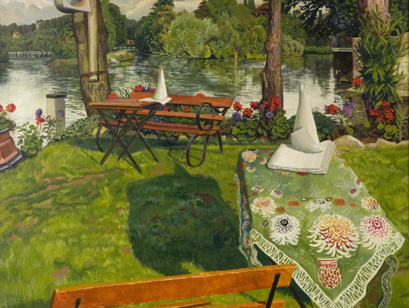 The Ferry Hotel Lawn, Cookham, by Stanley Spencer
