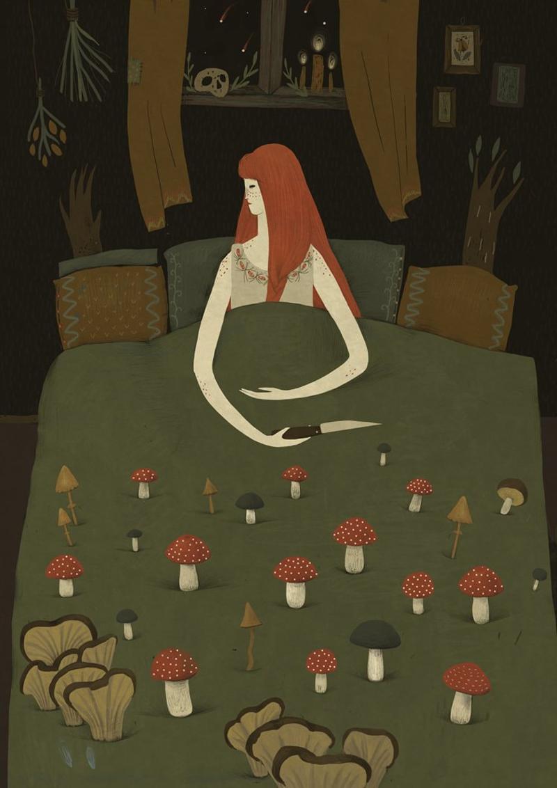 Mushroom Bed by Alexandra Dvornikova