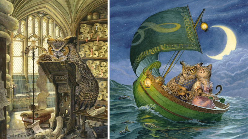 Wise Old Owl and The Owl & the Pussycat by Chris Dunn 2