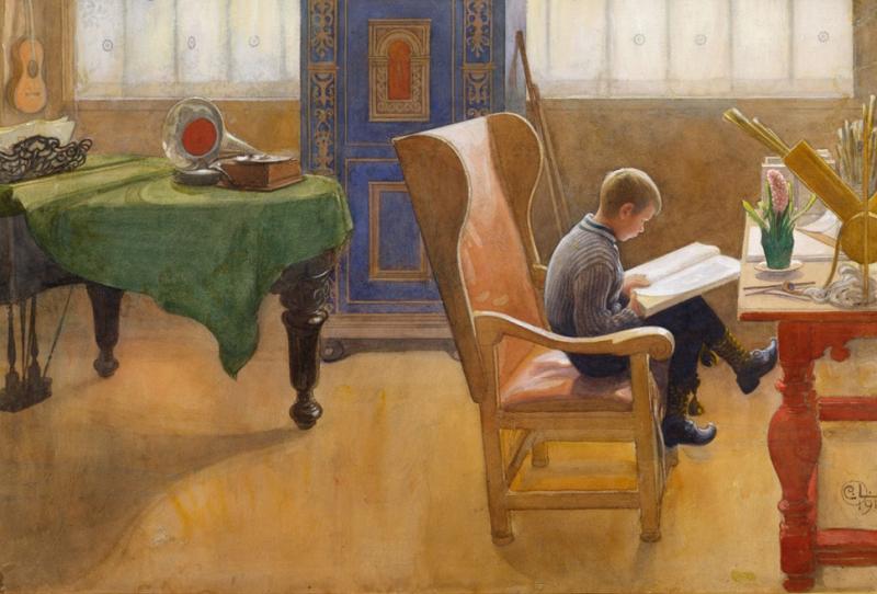 Boy Reading by Carl Larsson