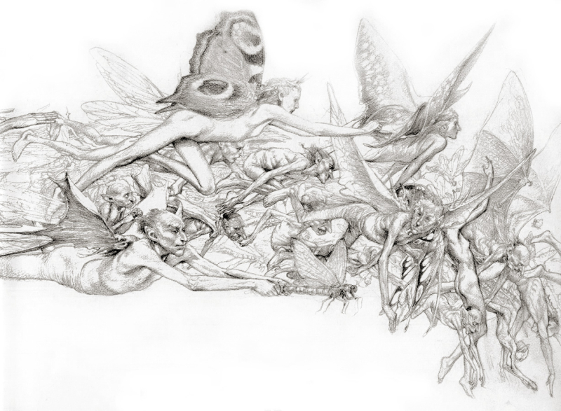 A swarm of fairies by Alan Lee
