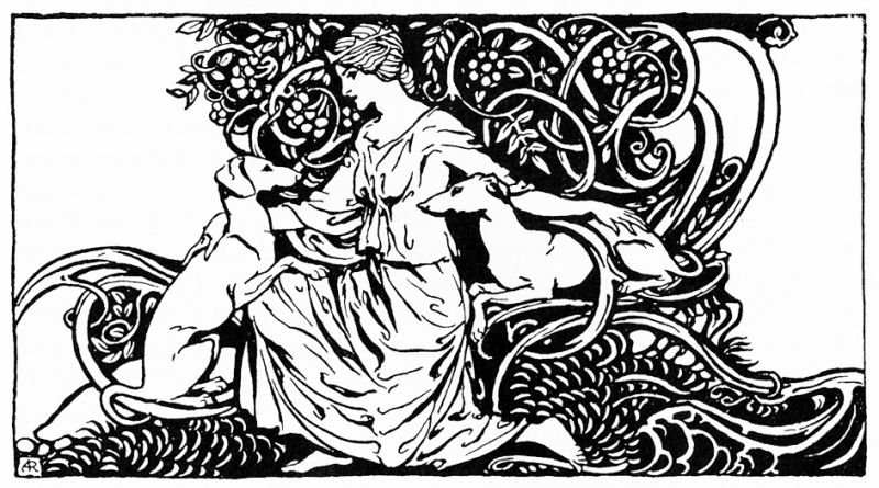 Muirne With Dogs by Arthur Rackham