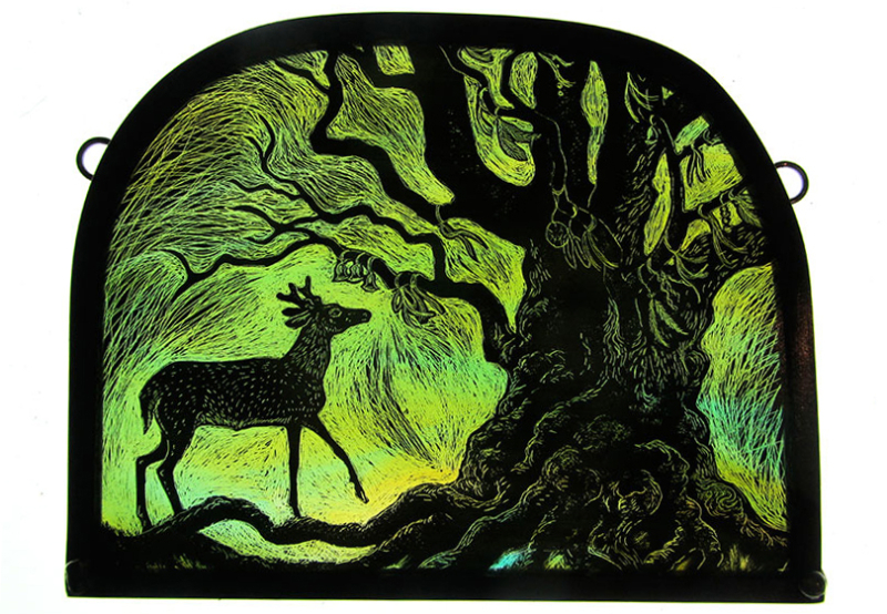 Young Stag Ancient Oak by by Tamsin Abbott