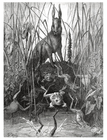 The Hare and the Frogs by Gustave Doré
