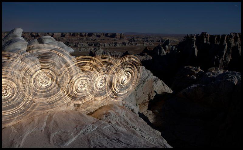Hoop Dancing With Ghosts, Coalmine Canyon, Navajo:Hopi Joint Use Area, Arizona by Stu Jenks