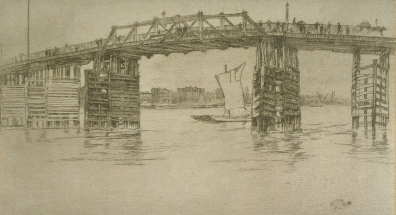 Drawing of the old Battersea Bridge by James McNeill Whistler